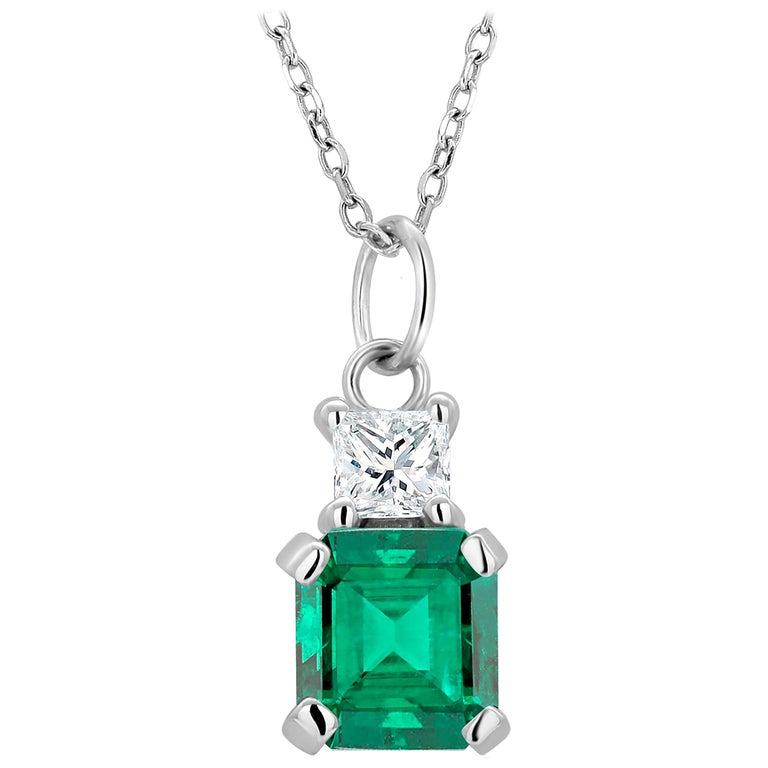 Emerald and Princess Diamond White Gold Drop Pendant Necklace For Sale