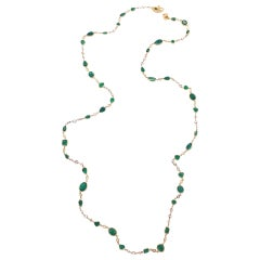 Emerald and Rose-Cut Diamond Necklace