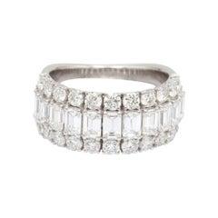 Emerald and Round Cut Diamond 18 Karat White Gold Ring