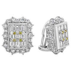 Emerald and Round Diamond Halo Clip-On Earrings