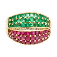 Emerald and Ruby 14k Gold Ring