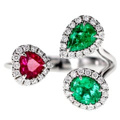 Emerald and Ruby Petite Ring
