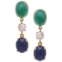 Emerald and Sapphire Cabochon Earrings with Rose Cut Diamond Handcrafted in Gold