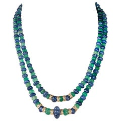 Emerald and Sapphire Carved Bead Necklace