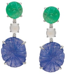 Emerald and Sapphire Carved Handcrafted Earring Pair with Diamond and Moonstone