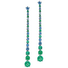 Emerald and Sapphire Drop Earrings Set in Platinum