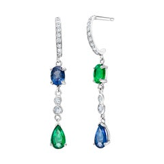 Emerald and Sapphire Matched and Mirrored Diamond Hoop Gold Earrings