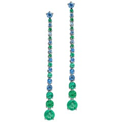 JAG New York Emerald and Sapphire Drop Earrings set in Platinum