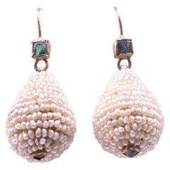 Emerald and Seed Pearl Teardrop Earrings, circa 1860