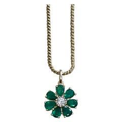 Emerald and Solitaire Diamonds Flower Pendant Necklace 14 Karat Yellow Gold
