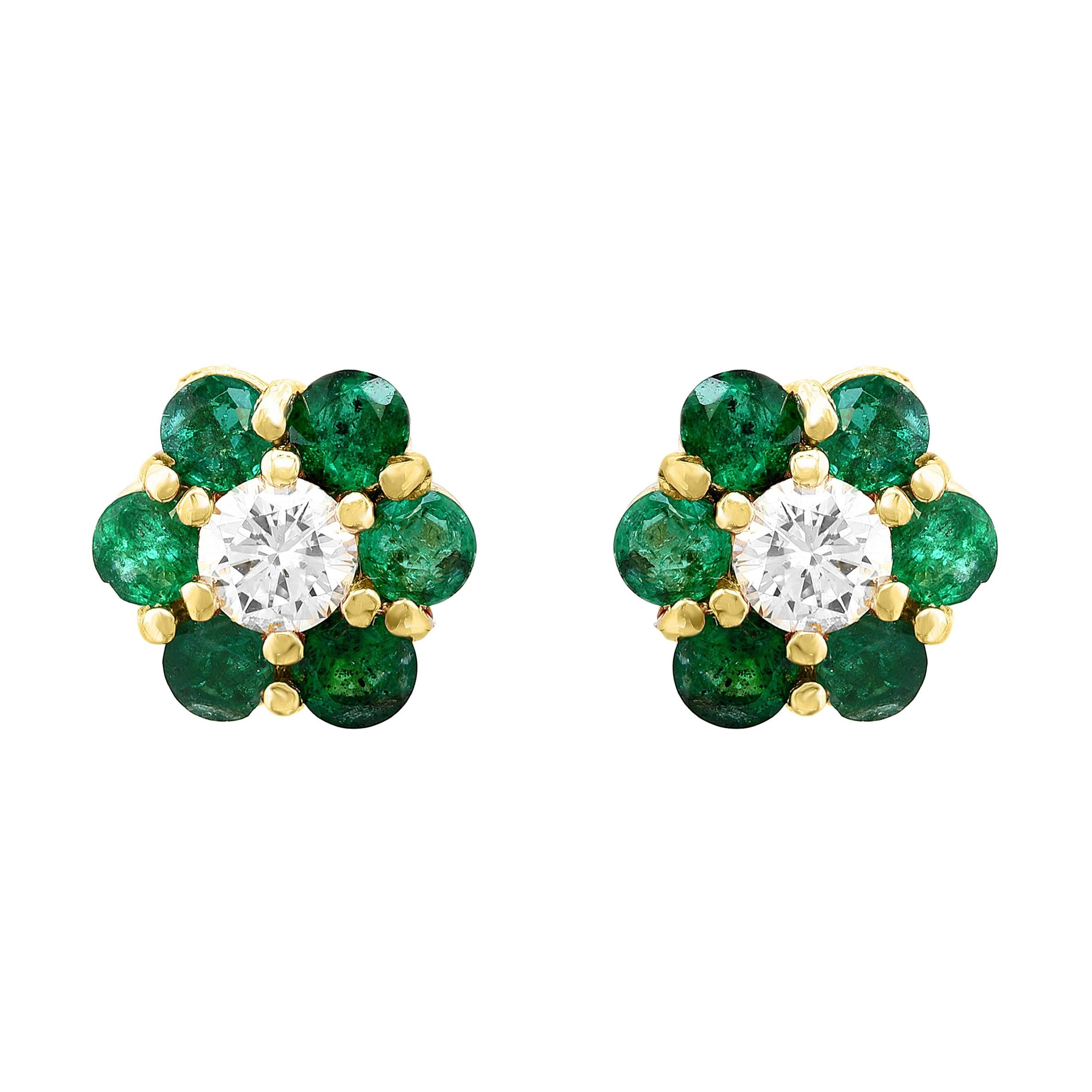 Emerald and Solitaire Diamonds Flower Post Earrings 14 Karat Yellow Gold