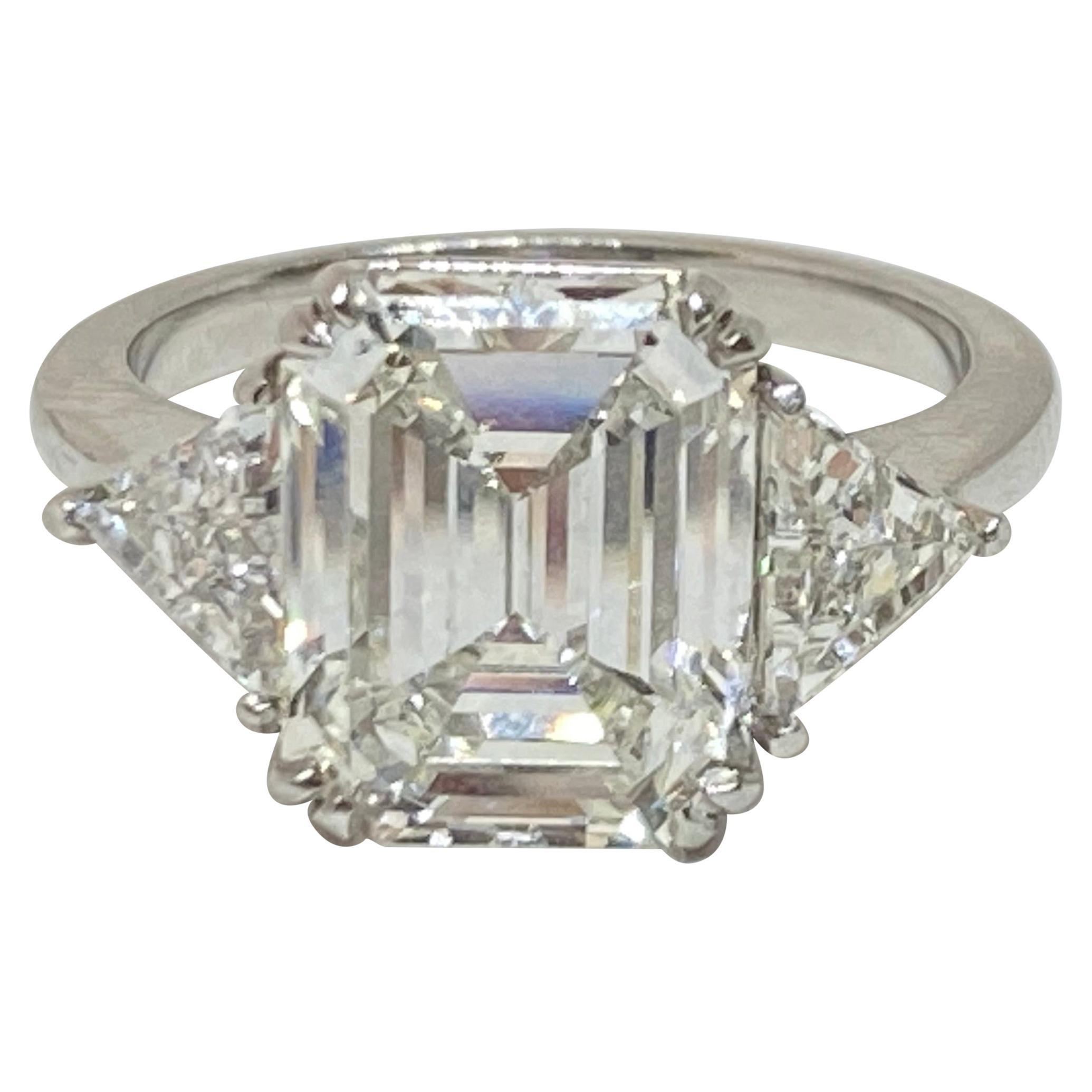 Emerald and Trillion Cut Engagement Ring Platinum 4.10 Carat GIA