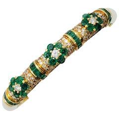 Emerald and White Diamond Bangle in 18 Karat Yellow Gold