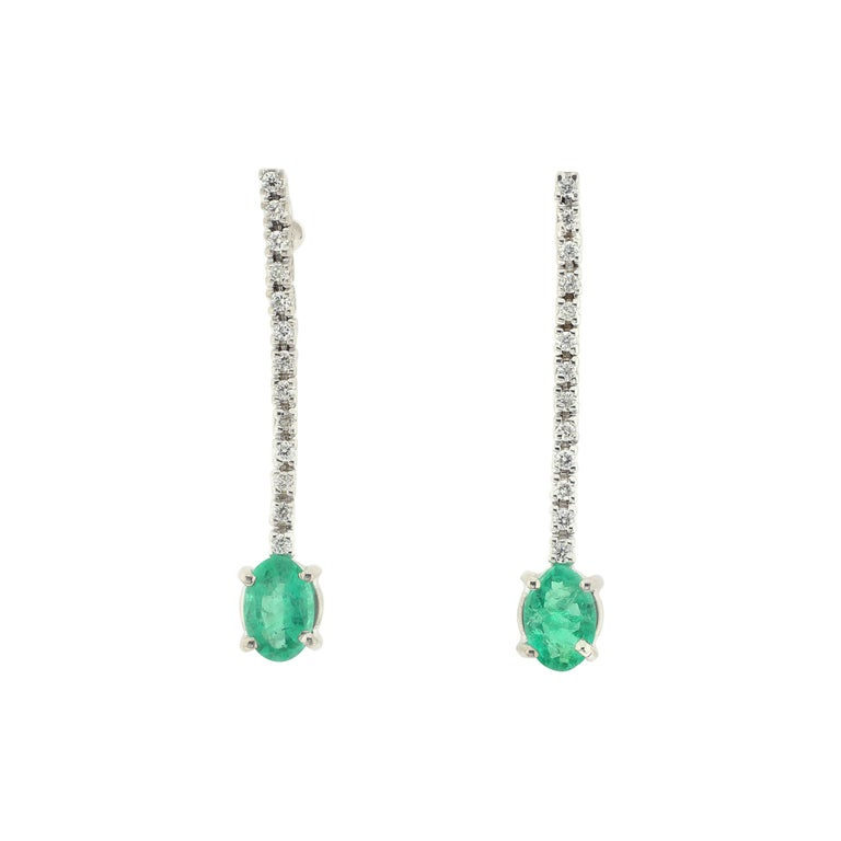 Emerald and White Diamond Drop Earrings in White Gold For Sale