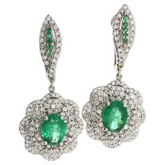Emerald and White Diamond Drop Earrings in 18-Karat White Gold