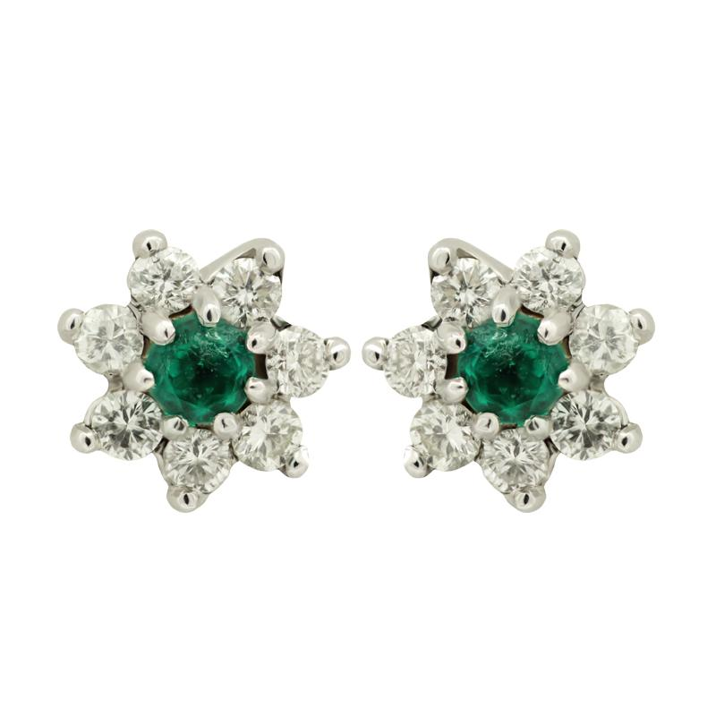 Emerald and White Diamond Stud Earrings set in 18kt White Gold Made in Italy