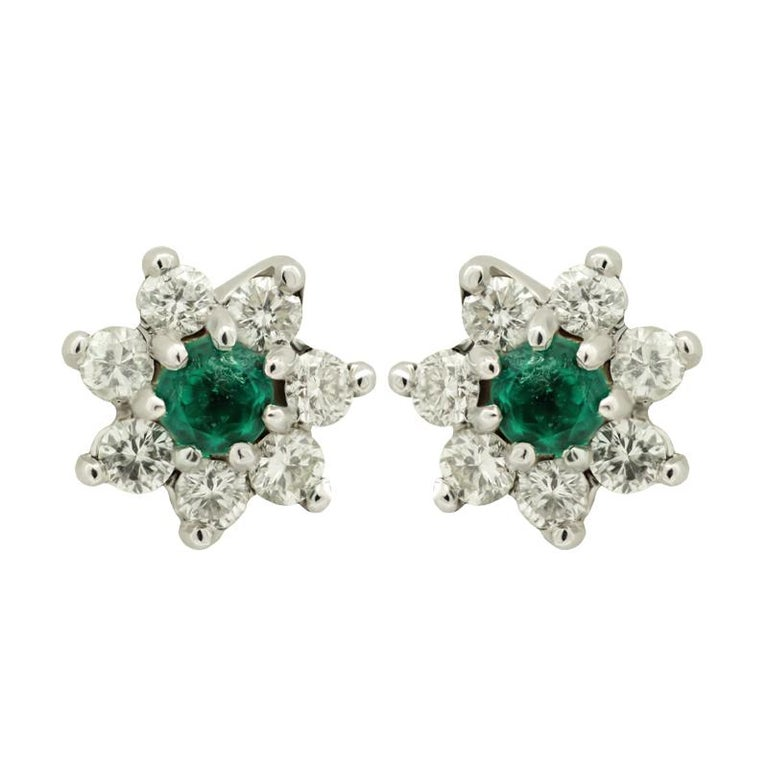 Emerald And White Diamond Star Stud Earrings Set In 18kt Gold