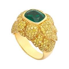 Emerald and Yellow Diamond Gold Ring