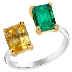 Open Band with Facing EC Emerald and EC Yellow Sapphire Cocktail Ring