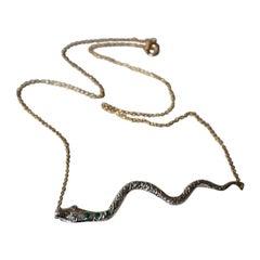 Emerald Aqua Marine Snake Necklace Silver Gold Link Chain J Dauphin