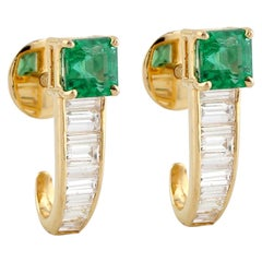 Emerald Baguette Diamond 18 Karat Gold Earrings