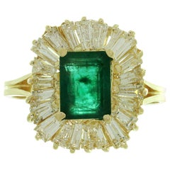 Emerald Baguette Diamond Yellow Gold Ballerina Cocktail Ring NU