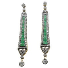 Emerald and Baguette Diamond Yellow or White Gold and Silver Long Drop Earrings