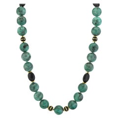 Emerald Bead Necklace with Yellow Gold and Onyx Accents