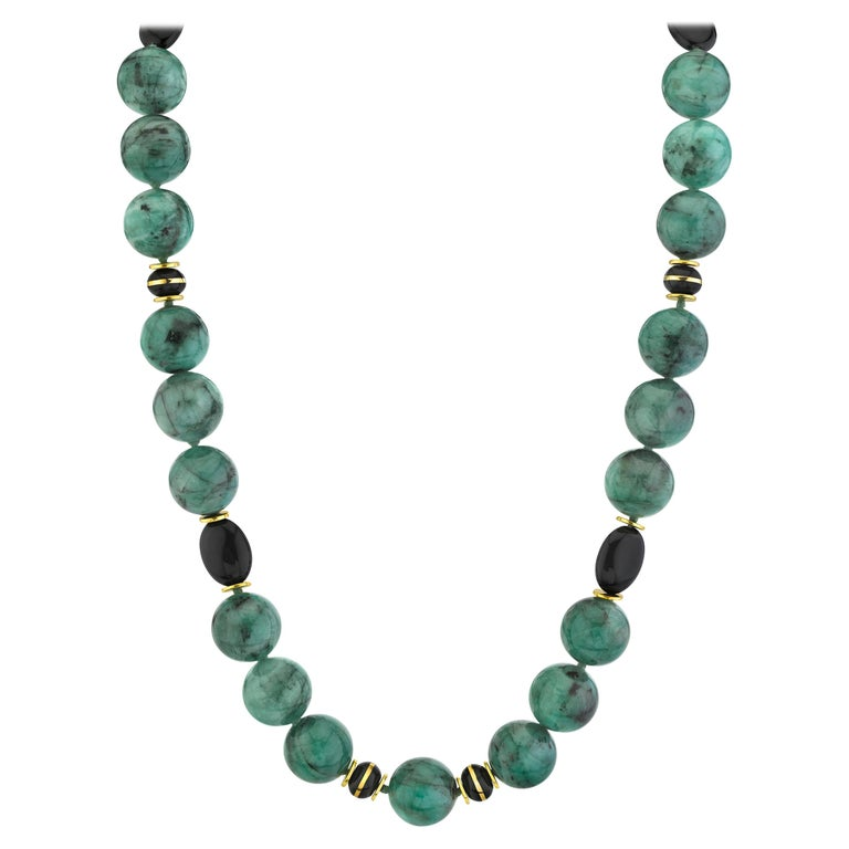 Emerald Bead Necklace with Yellow Gold and Onyx Accents For Sale