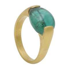Unique Emerald Bead Ring Handmade in 18 Karat Yellow Gold