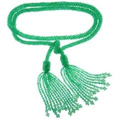 Emerald Bead Strand Tussle Sautoir Necklace