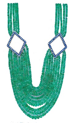Emerald Bead Yellow Gold Necklace with Blue Topaz
