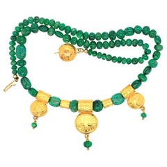 Emerald Beads and Yellow Gold Necklace