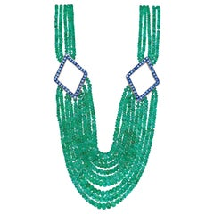 Emerald Beads Blue Topaz Yellow Gold Necklace, 1970