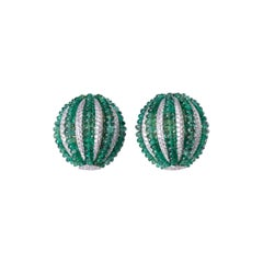 Emerald Beads Diamond Half Ball Earring