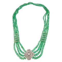 Emerald Beads with Diamond Necklace Set in 18 Karat White Gold Settings