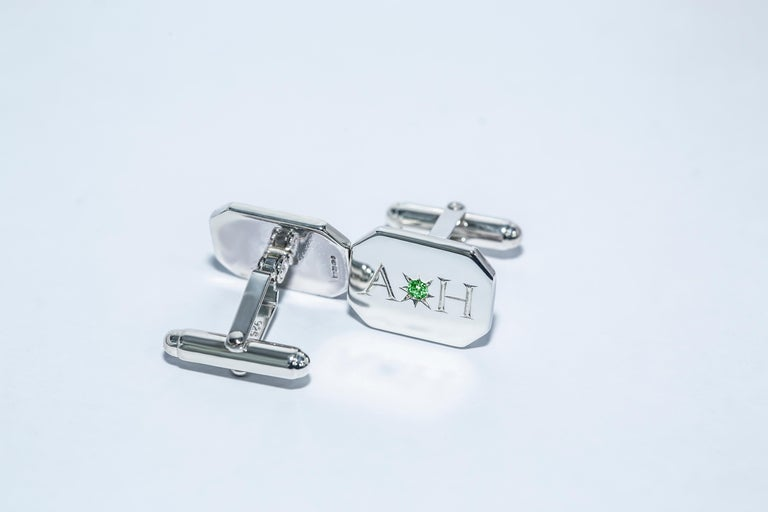 Neoclassical Emerald Bespoke Sterling Silver Rectangular Engraved Modern Classic Cufflinks For Sale