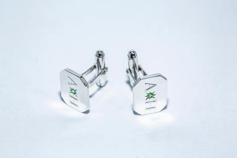 Round Cut Emerald Bespoke Sterling Silver Rectangular Engraved Modern Classic Cufflinks For Sale