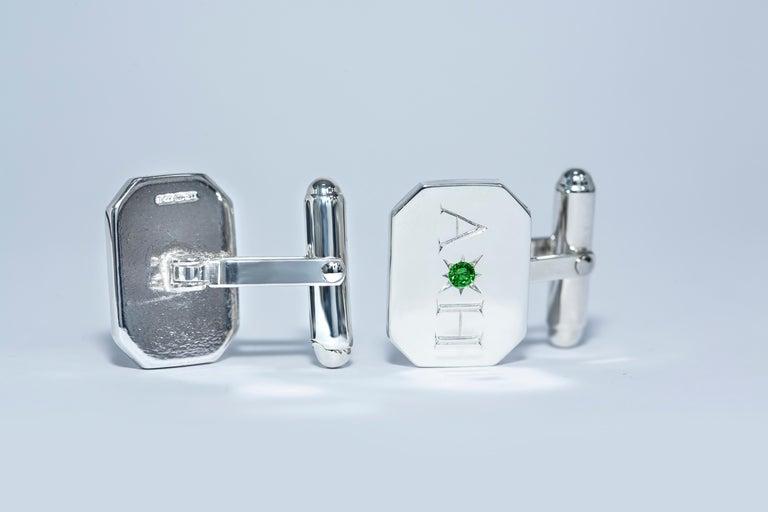 Men's Emerald Bespoke Sterling Silver Rectangular Engraved Modern Classic Cufflinks For Sale