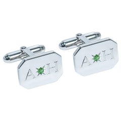 Emerald Bespoke Sterling Silver Rectangular Engraved Modern Classic Cufflinks