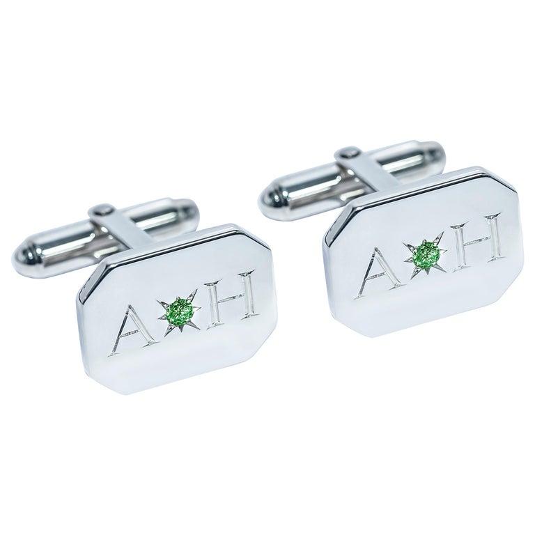 Emerald Bespoke Sterling Silver Rectangular Engraved Modern Classic Cufflinks For Sale