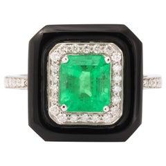 Emerald Black Agate Diamond Ring
