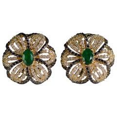 Emerald Black and White Diamond Gold Flower Earrings