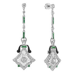 Emerald Black Enamel Diamond 14 Karat White Gold Earrings