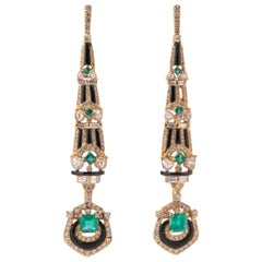 Emerald, Black Onyx and Diamond Drop Earrings