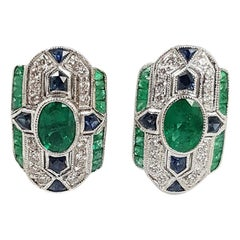 Emerald, Blue Sapphire and Diamond Earrings Set in 18 Karat White Gold Settings