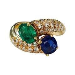 Emerald, Blue Sapphire and Diamond Twin Ring in 18k Yellow Gold