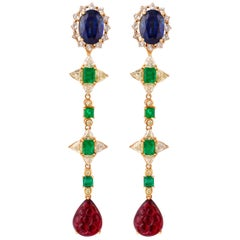 Emerald, Blue Sapphire and Rubelite Earring in 18 Karat Gold with Diamonds