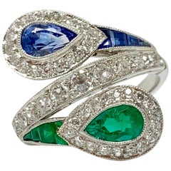 Emerald, Blue Sapphire and White Diamond Twin Ring in Platinum