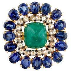 Emerald Blue Sapphire Diamond 14 Karat Gold Ring